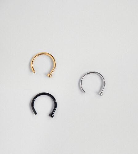 cfa588299 DesignB London DesignB open nose hoop ring in 3 pack - Black/gold/siver
