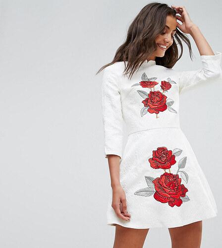 cb905004f410 Chi Chi London Tall Jacquard Mini Dress with Mandarin Neck and Rose  Embroidery - White