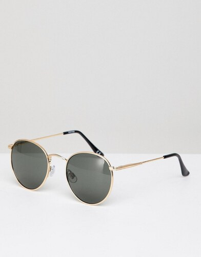 ASOS DESIGN round sunglasses in gold with nose bridge detail - Gold ... b0b446fb1a1