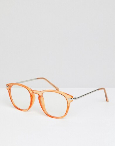 ASOS DESIGN round glasses in crystal orange with clear lens - Orange ... df9a382d6de