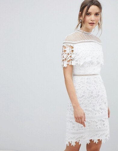 87f526fbcc72 Chi Chi London Lace High Neck Mini Dress - White - Glami.cz