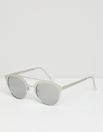 ASOS DESIGN retro sunglasses in brushed silver metal with silver mirrored  lens - Silver 37d2107c09e