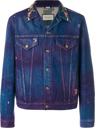 Gucci embroidered denim jacket - Blue - Glami.cz 93b36f11095