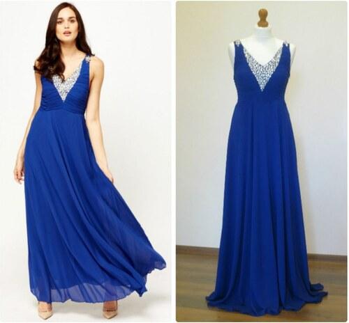 Flam Mode Paris Dámské elegantní večerní šaty modré - Glami.cz 59bee755767