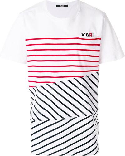 ec62be1314 Karl Lagerfeld contrast stripe logo T-shirt - White - Glami.hu
