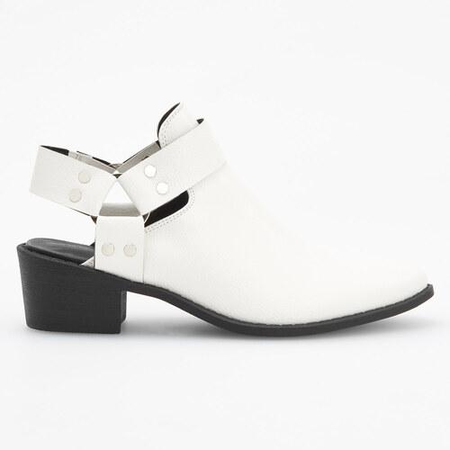 d2208c882bdb Reserved - Členkové topánky so stredne vysokým opätkom a otvorenou pätou -  Biela