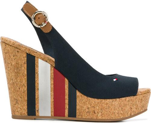 622a3b327fef05 Tommy Hilfiger striped wedge heel sandals - Blue - Glami.sk