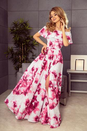 66a916815d7f Strikingstyle 194-2 Dlhé šaty so španielskym výstrihom   biele s malinovými  kvetmi