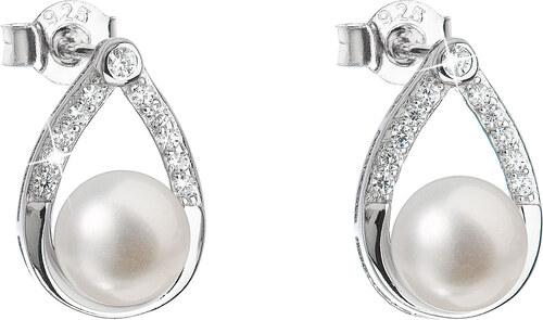 EVOLUTION GROUP Stříbrné náušnice visací s bílou říční perlou 21033.1 e6ec8f71c0e