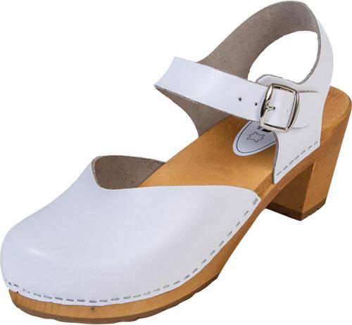 06947cf0c8948 BUXA Dámske Drevákové Sandále Na Vysokom Opätku OS3 - Biele - Glami.sk
