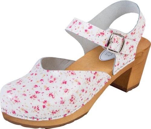 a344eab36610 -15% BUXA Dámske Drevákové Sandále Na Vysokom Opätku OS3 - Kvietkované
