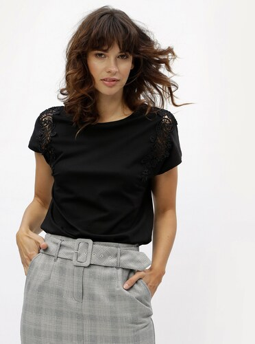 d3f22f3b2 Čierne tričko s čipkou Dorothy Perkins - Glami.sk