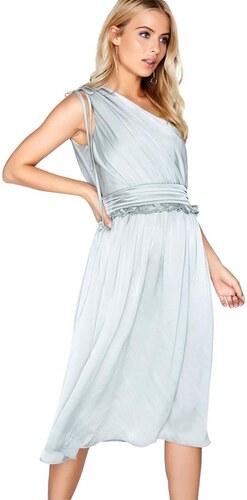 LITTLE MISTRESS Leknínově modré saténové jedno-ramenní midi šaty ... 46c2f4256fa