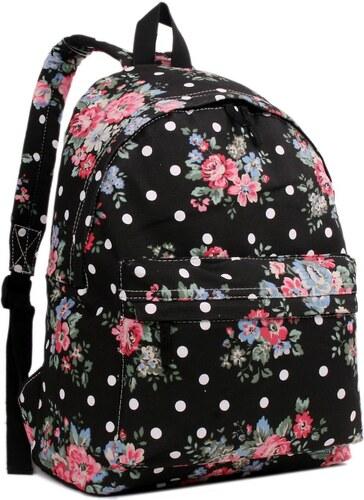 3c1032f291 Miss Lulu Batoh na chrbát s potlačou - čierny s ružičkami - Glami.sk