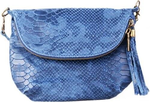 Talianske kožené kabelky športové Borsa di pellle modré Savina ... b53e8de206b