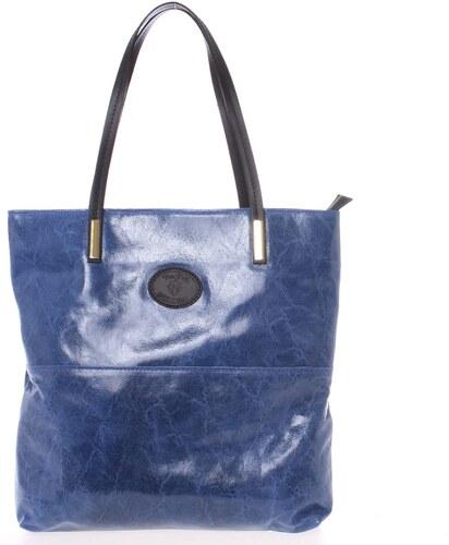 Veľká kožená kabelka cez rameno tmavomodrá - ItalY Obelia modrá ... 63057ad2336