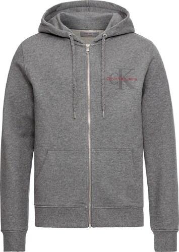 4cdd788d33 Calvin Klein Jeans Mikina s kapucí  HOMER 3 SLIM HD ZIP THRU LS  šedý melír