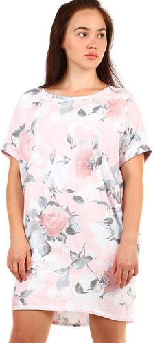 YooY Dámské letní volné šaty s květinovým potiskem (růžová 5312ae393e