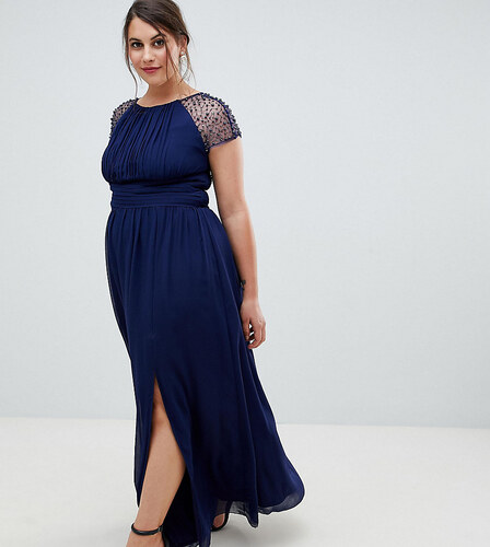 045a5f96153 Little Mistress Plus embellished sleeve maxi dress in navy - Navy ...