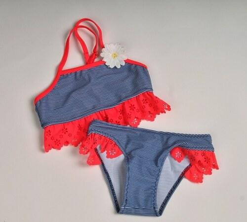 Me Dívčí dvoudílné plavky modré proužky korálová krajka - Glami.cz 10972703e0
