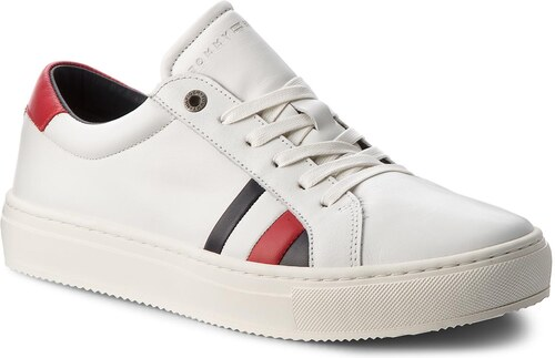 Sneakersy TOMMY HILFIGER - Corporate Leather Detail Sneaker FM0FM01819  White 100 650a61a0c2