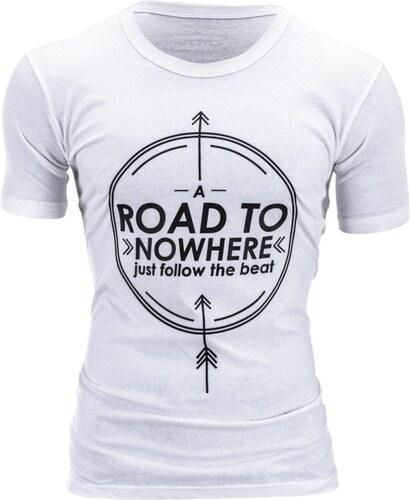 2aadfbe5b268 Ombre Clothing Pánské tričko s potiskem Road bílé - Glami.cz
