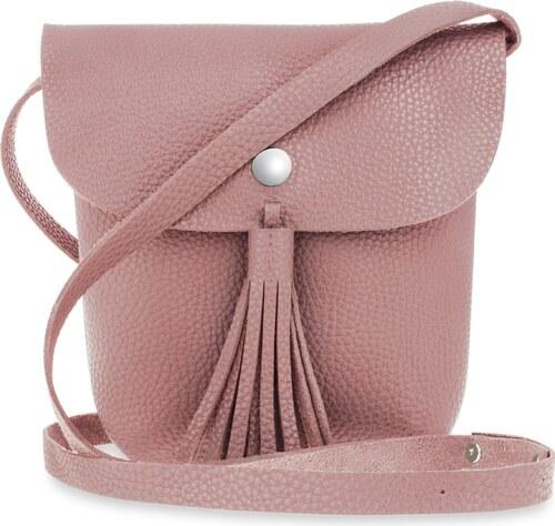 fcc2d53fd5 World-Style.cz Listonoška boho malá dámská kabelka se střapci a klopou -  růžová