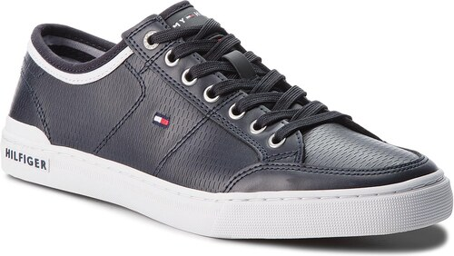 d9f20a7424 Sportcipő TOMMY HILFIGER - Core Corporate Leather Sneaker FM0FM01497  Midnight 403