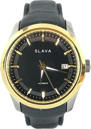 58a7691fa1d Pánské zlato-stříbrné automatické hodinky SLAVA se zapínáním na Pusher sponu