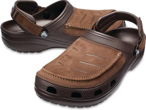 Crocs hnědé kožené pánské pantofle Yukon Vista Clog Espresso Khaki Roomy  Fit - M11 1aa9f0ede04