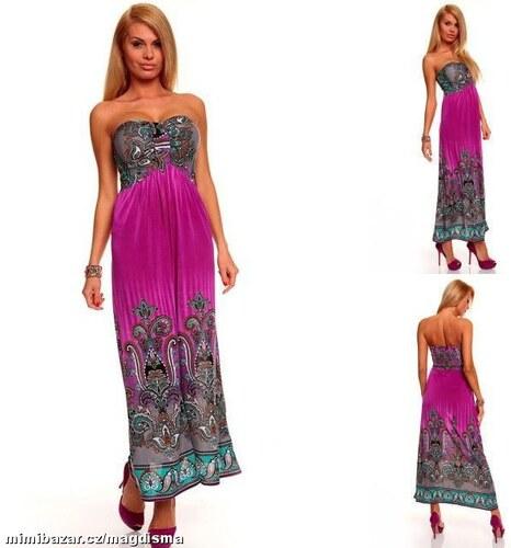 LM moda A Dlouhé letní fialové šaty vzorované 9330 - Glami.cz 2264dea7be