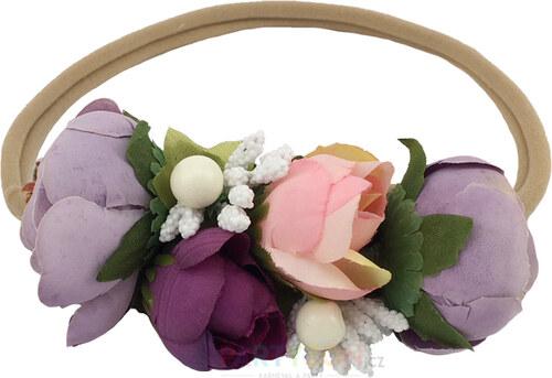 Dekor Svatební květinová čelenka fialová - Glami.cz 582459fcc7