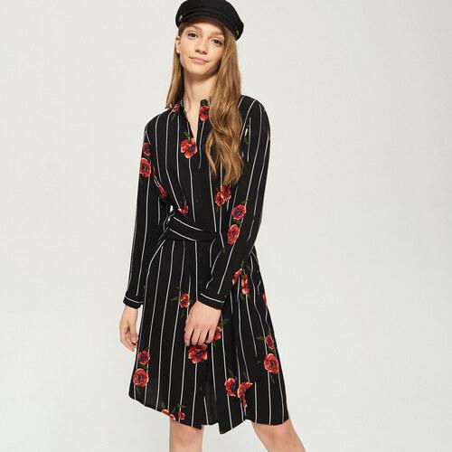 0d922d16aef Sinsay - Pruhované košilové šaty s květinovým potiskem - Vícebarevn ...