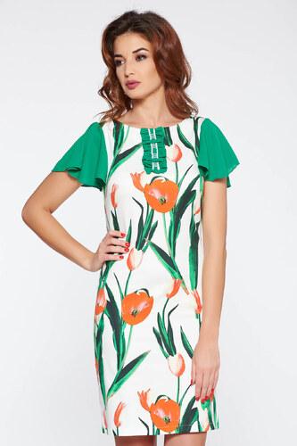 b29bcb7ee8 Zöld StarShinerS elegáns ruha rugalmas pamut virágmintás díszítéssel ...