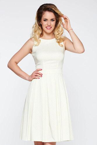 Fehér StarShinerS elegáns deréktól bővülő szabás ruha elasztikus pamutszatén 2b1f705881