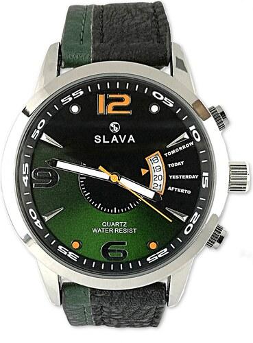 81a0f8f6b65 Pánské elegantní hodinky s černo-zeleným ciferníkem SLAVA - Glami.cz