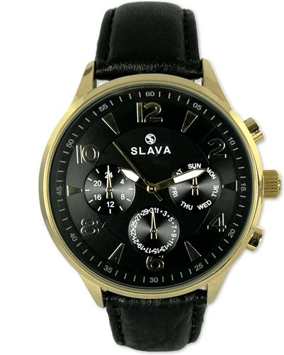 081a095b42d Pánské zlaté elegantní hodinky SLAVA s velkým černým ciferníkem ...