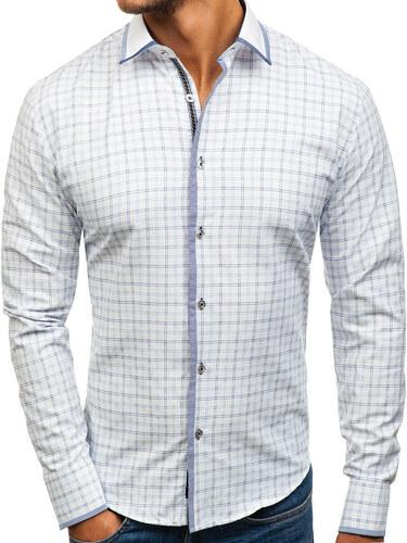 Bílo-modrá pánská kostkovaná košile s dlouhým rukávem Bolf 8812 ... e4d8cb97d0