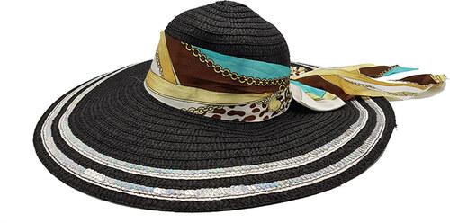 Bleskovynakup.cz Dámský letní slaměný klobouk - sříbrný okraj černý s  barevnou trendy mašlí b9557ae298