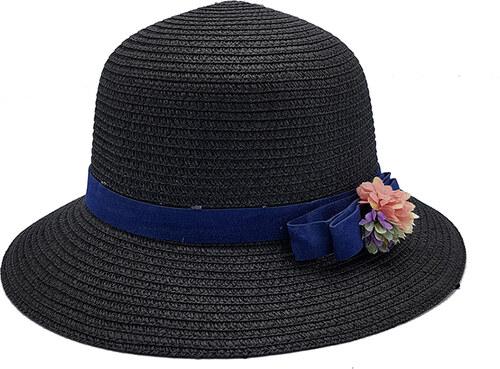 5407d320d6c Bleskovynakup.cz Dámský letní slaměný klobouk - černý s modrou mašlí a  květinami
