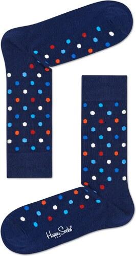 0fbf40e2d0e -20% Tmavě modré ponožky Happy Socks s barevnými puntíky - M-L (41-46)
