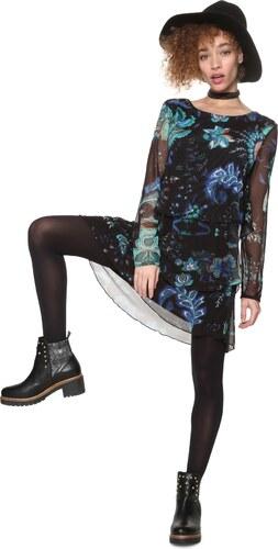 Desigual černé šaty Machine s barevným potiskem - XS - Glami.cz 298d8037262