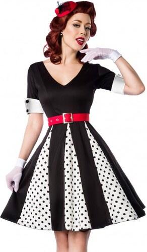2fa8a56553f8 Originálne retro šaty s bielymi bodkami Belsira 50022 - Glami.sk