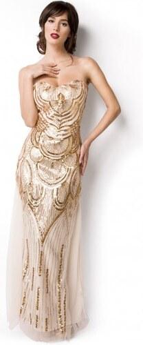 c90aeeca530 Nádherné art deco zlaté dlhé plesové šaty 14919 - Glami.sk