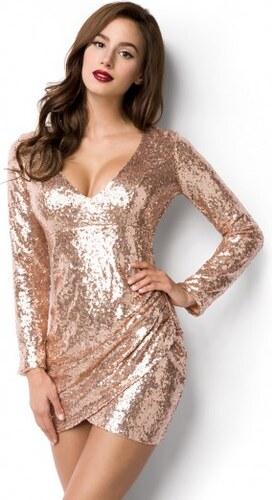 Trblietavé mini zavinovacie šaty zlaté 14933 - Glami.sk ceb21e13fd7