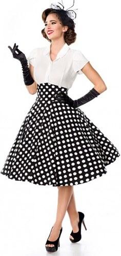 34f6170cadbe Elegantná čiernobiela bodkovaná retro sukňa Belsira Belsira 50064 ...