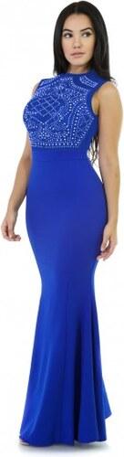 47fd8f7aab86 Dlhé modré šaty s kamienkami do spoločnosti S2079-2 - Glami.sk