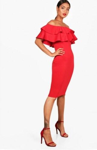 Krátke červené spoločenské šaty s dvojitým carmen volánom Boohoo DZZ83696 11357ea6422