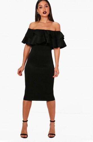 b4c1331badbb Krátke čierne spoločenské šaty s dvojitým carmen volánom Boohoo DZZ83696