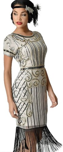 Spoločenské zlaté retro šaty v štýle art deco 20. rokov N14886 ... 67b54057332